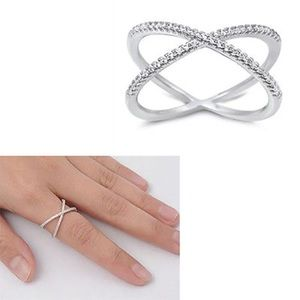 NEW Criss Cross Crystal Sterling .925 Ring Size 5